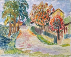 1940's Provence French Orange and Green Landscape  - Post Impressionist artist