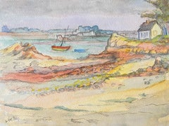 1940's Provence French River Estuary Landscape  - Post Impressionist artist