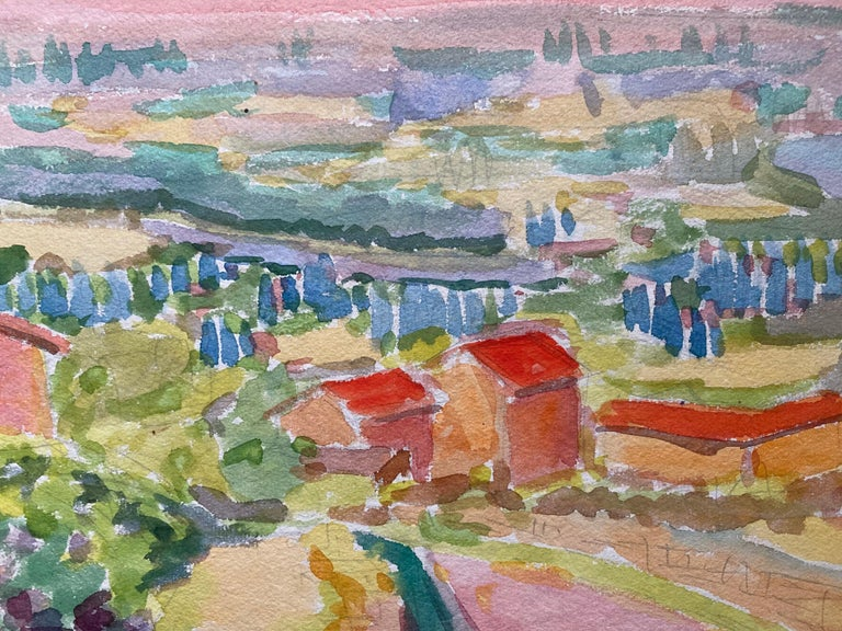 1940's Provence French Town Painting Landscape  - Post Impressionist artist For Sale 1