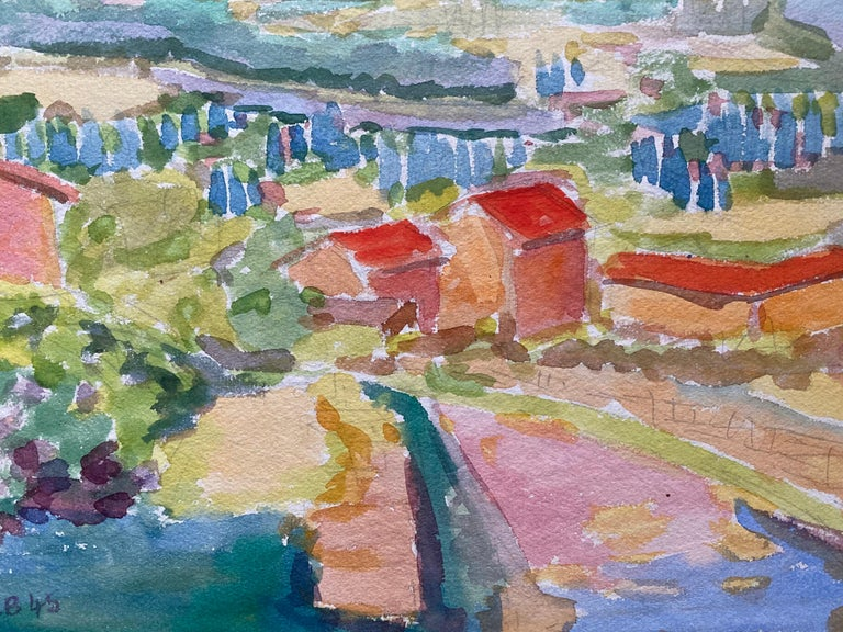 1940's Provence French Town Painting Landscape  - Post Impressionist artist For Sale 2