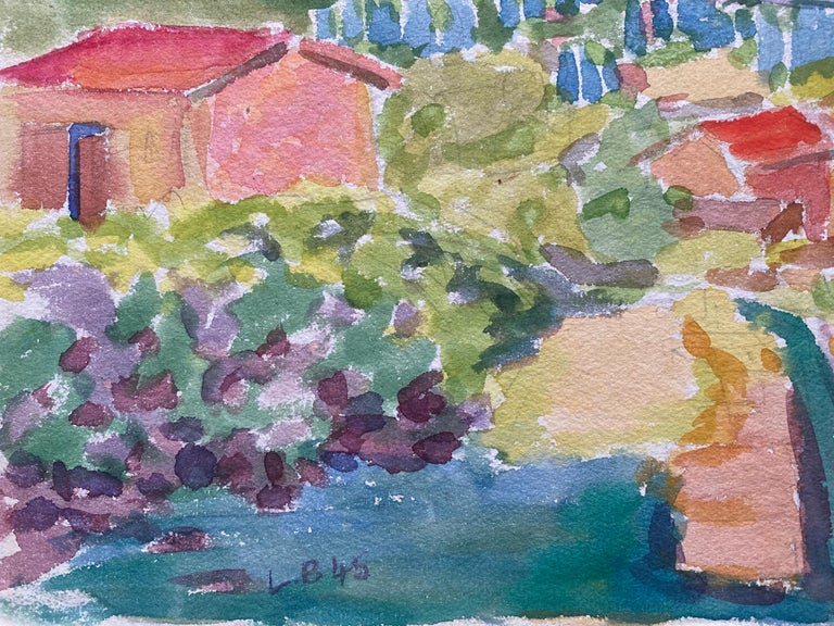 1940's Provence French Town Painting Landscape  - Post Impressionist artist For Sale 3