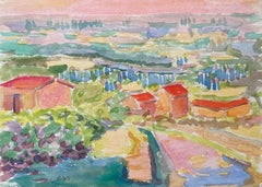 1940's Provence French Town Painting Landscape  - Post Impressionist artist