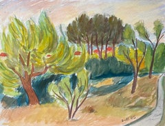 1940's Provence French Trees In The Wind Landscape  - Post Impressionist artist