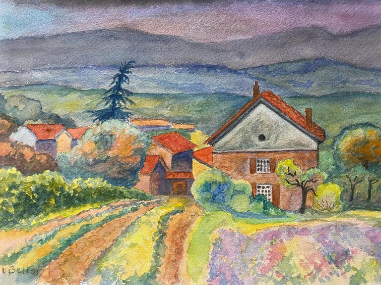 1940's Provence Painting Cloudy French Fields  - Post Impressionist artist - Art by Louis Bellon