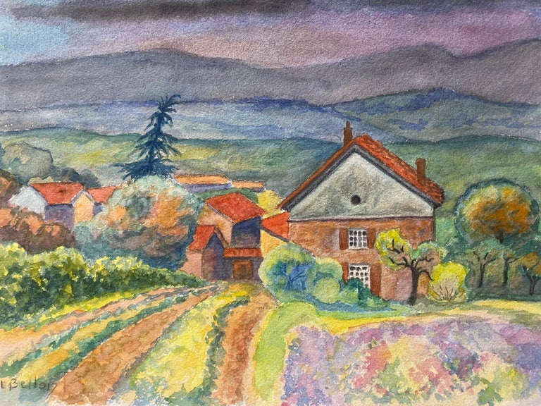 1940's Provence Painting Cloudy French Fields  - Post Impressionist artist - Post-Impressionist Art by Louis Bellon