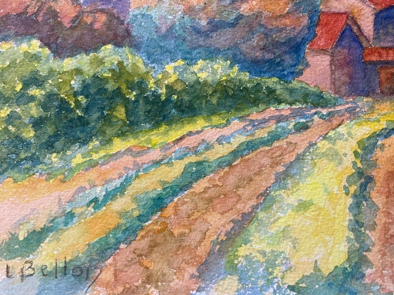 1940's Provence Painting Cloudy French Fields  - Post Impressionist artist For Sale 1