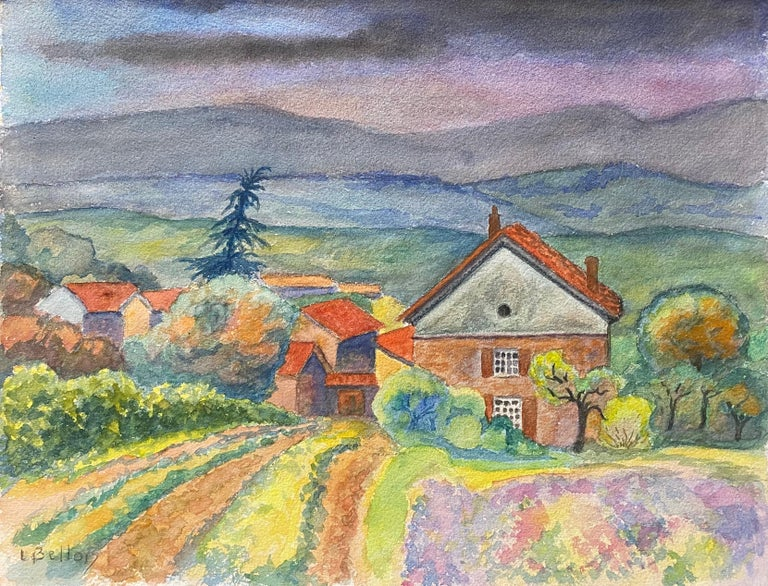 Louis Bellon Landscape Art - 1940's Provence Painting Cloudy French Fields  - Post Impressionist artist