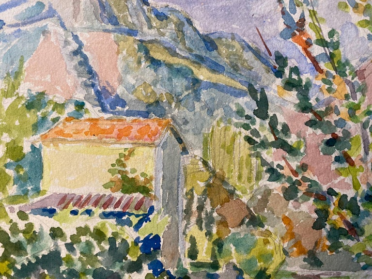 1940's Provence Painting French Colourful Landscape  - Post Impressionist artist - Art by Louis Bellon