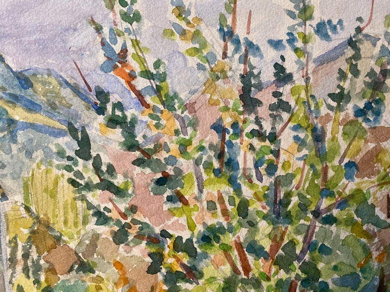 1940's Provence Painting French Colourful Landscape  - Post Impressionist artist - Post-Impressionist Art by Louis Bellon