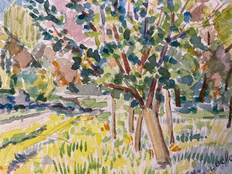 1940's Provence Painting French Colourful Landscape  - Post Impressionist artist - Brown Landscape Art by Louis Bellon