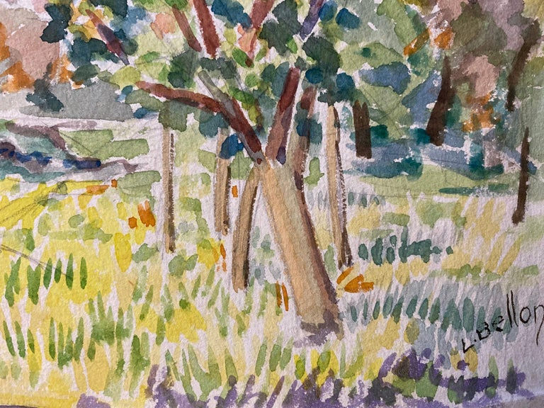 Provencal Landscape - possibly Mont St. Victorire in the background.  by Louis Bellon (French 1908-1998) signed From a batch of similar work where most were dated 1942-1947 watercolour painting on paper, unframed  measurements: 10 x 13.5