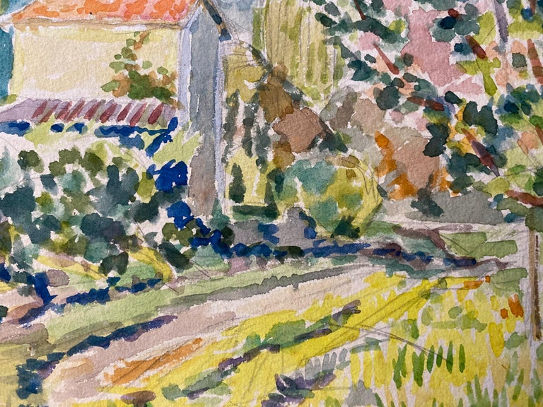 1940's Provence Painting French Colourful Landscape  - Post Impressionist artist For Sale 1