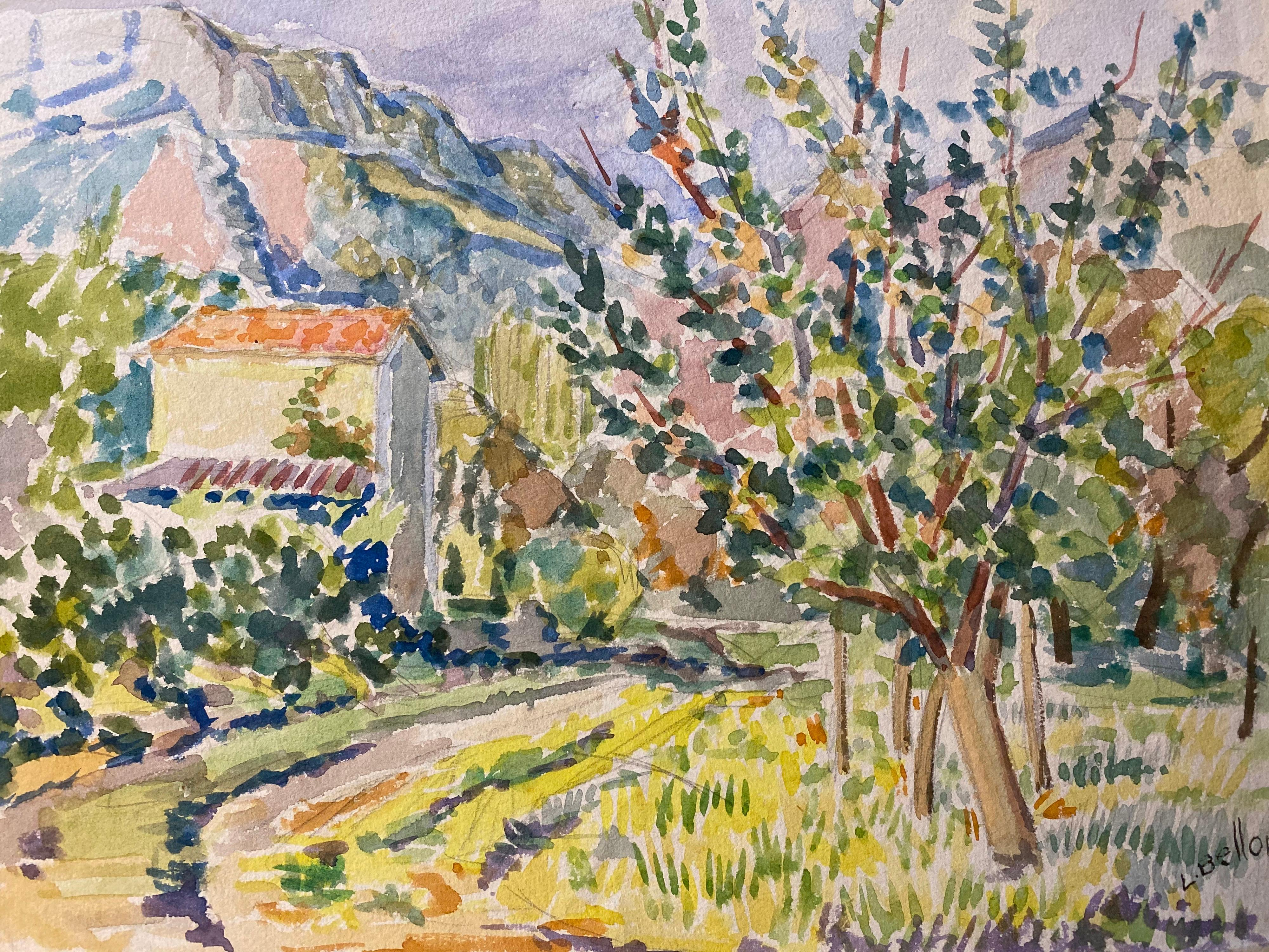 1940's Provence Painting French Colourful Landscape  - Post Impressionist artist