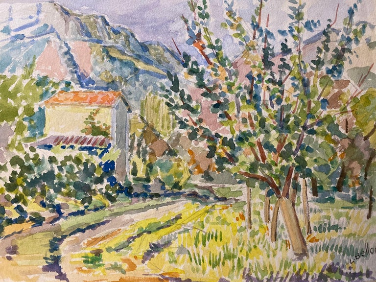 Louis Bellon Landscape Art - 1940's Provence Painting French Colourful Landscape  - Post Impressionist artist