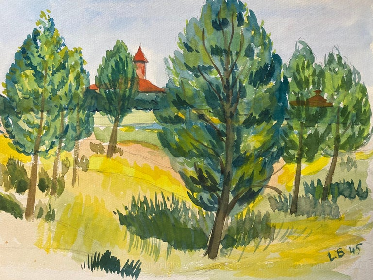 1940's Provence Painting French Green Trees   - Post Impressionist artist - Art by Louis Bellon