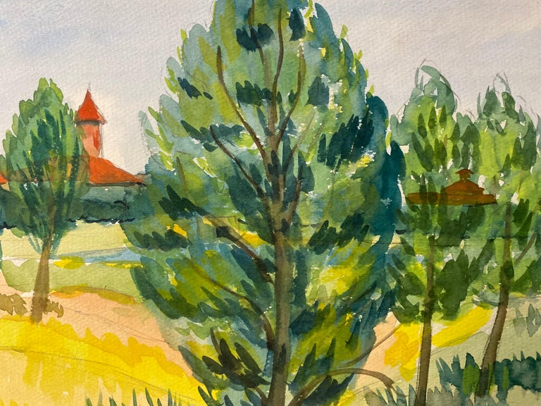 1940's Provence Painting French Green Trees   - Post Impressionist artist - Post-Impressionist Art by Louis Bellon