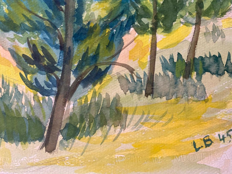 Provencal Landscape by Louis Bellon (French 1908-1998) signed and dated 45' From a batch of similar work where most were dated 1942-1947 watercolour painting on paper, unframed  measurements: 9.75 x 12.5 inches  provenance: private collection of the