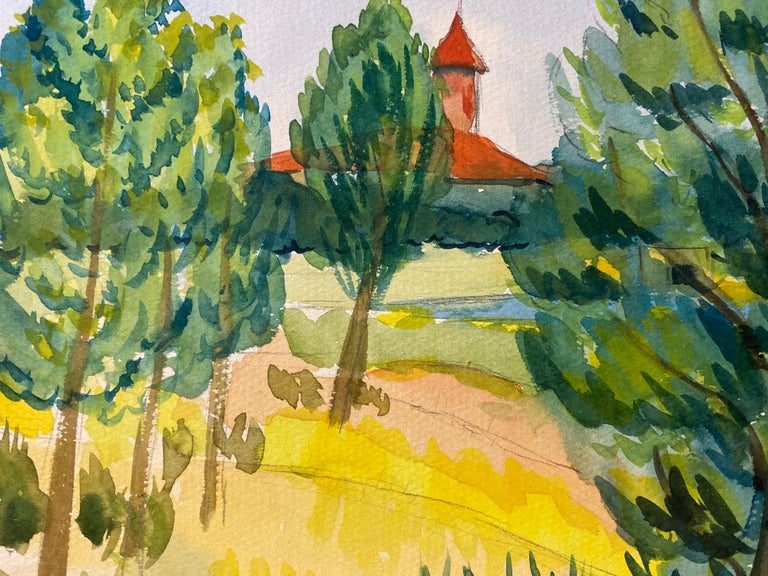 1940's Provence Painting French Green Trees   - Post Impressionist artist For Sale 1