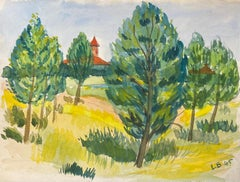 1940's Provence Painting French Green Trees   - Post Impressionist artist