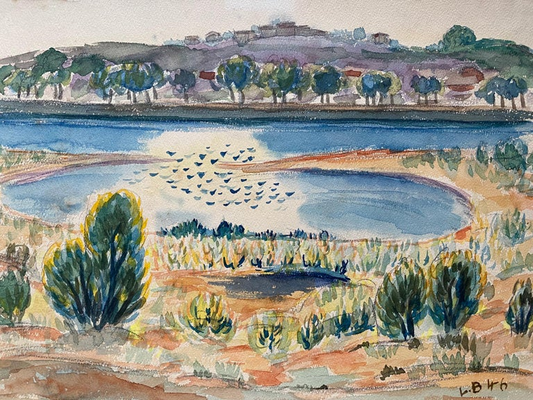 1940's Provence Painting French Lake Landscape  - Post Impressionist artist - Art by Louis Bellon