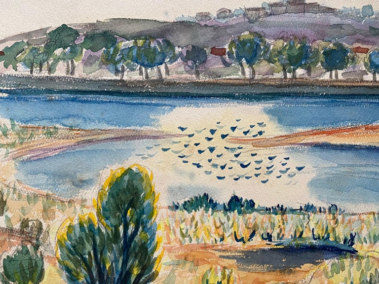 1940's Provence Painting French Lake Landscape  - Post Impressionist artist - Post-Impressionist Art by Louis Bellon
