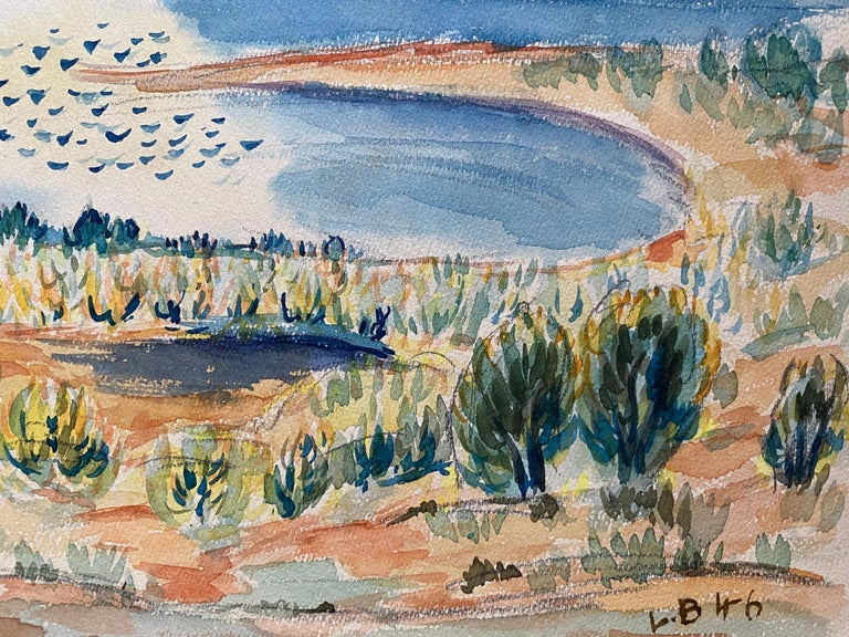 Provencal Landscape by Louis Bellon (French 1908-1998) signed and dated 46' From a batch of similar work where most were dated 1942-1947 watercolour painting on paper, unframed  measurements: 9 x 12.5 inches  provenance: private collection of the