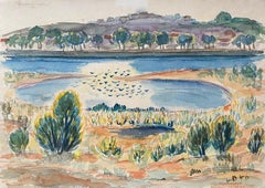 1940's Provence Painting French Lake Landscape  - Post Impressionist artist