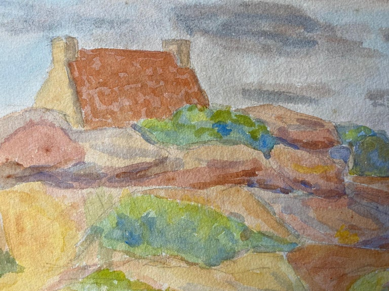 1940's Provence Painting French Light Landscape  - Post Impressionist artist - Brown Landscape Painting by Louis Bellon