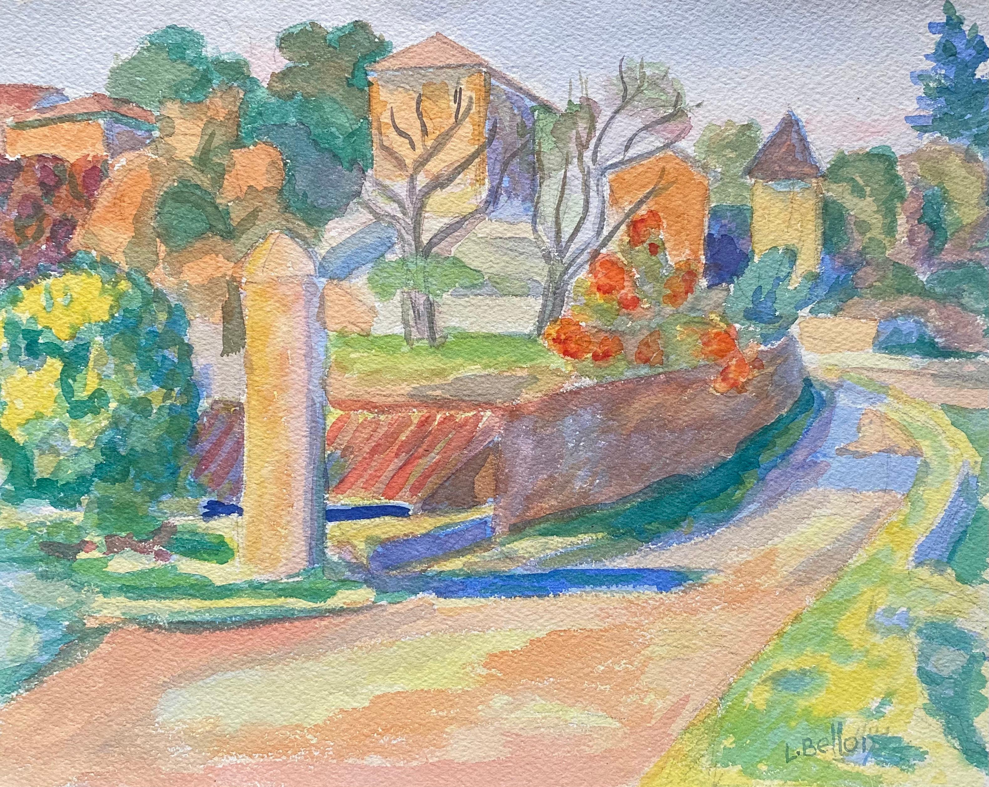 1940's Provence Painting French Pathway Landscape  - Post Impressionist artist