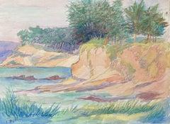 1940's Provence Painting Summer Sea Landscape  - Post Impressionist artist