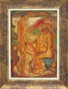 Naked Bathers Post-Cubist Oil on Canvas Painting by Louis Bergerot