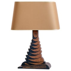 Louis Bogtman Batiked Oak Table Lamp with Yellow Gold Shade, Netherlands, 1925