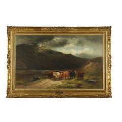 Louis Bosworth Hurt Grazing Cows in Highlands Painting 1881