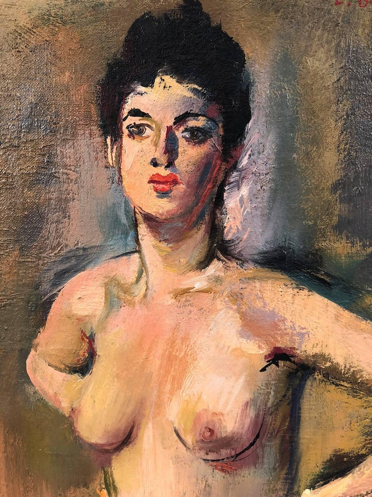 This is a wonderful example of Louis Bouché's charming Nude portraits. The artist was truly a master of capturing the energy of the times, and character of his subjects effortlessly. A striking piece, with expressed lust and beauty. The mysterious