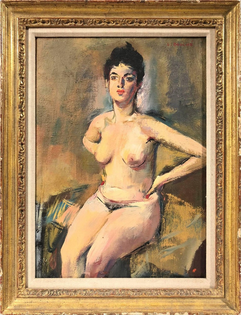 "Louis Bouché Nude Painting - ""Seated Nude"" Nude Portrait of a Woman Oil on Board Painting by American Artist"