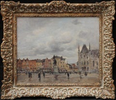 Town Square Dunkirk - French Impressionist art town landscape oil painting