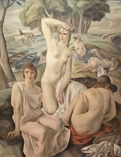 Composition (Nude Women in Surreal Landscape with Horses & Boats)