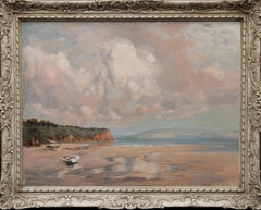 Coastal Scene with Two Beached Boats - British 30's seascape oil painting Essex