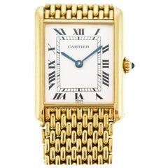Louis Cartier Tank 18 Karat Gold Grain De Riz Mesh Bracelet Quartz Watch