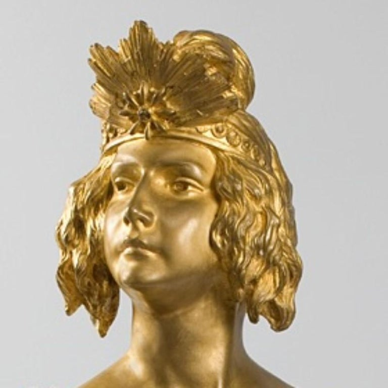 Louis Chalon French Art Nouveau Bronze Bust In Excellent Condition For Sale In New York, NY