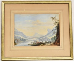 Scenic Landscape, Trail, mountain view, boats loading ,Watercolor on paper, 1741