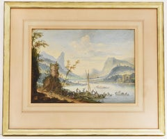 Scenic landscape, Trail with watchtower and boats, Watercolor on paper  1740