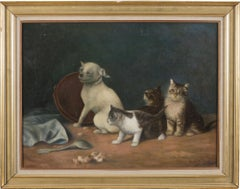 Cats - Original Oil on Canvas by Louis Charlot - Early 20th Century
