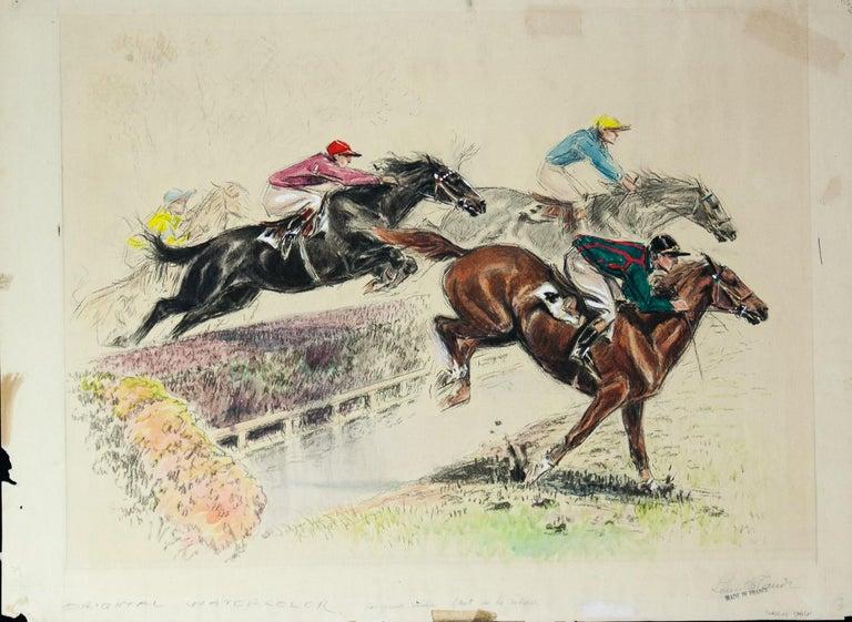 Saut de la Ravine original watercolor by Louis Claude 1928  For Sale 4