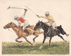 Polo, colour etching, horses, circa 1950