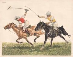 Polo, colour etching, horses, circa 1950