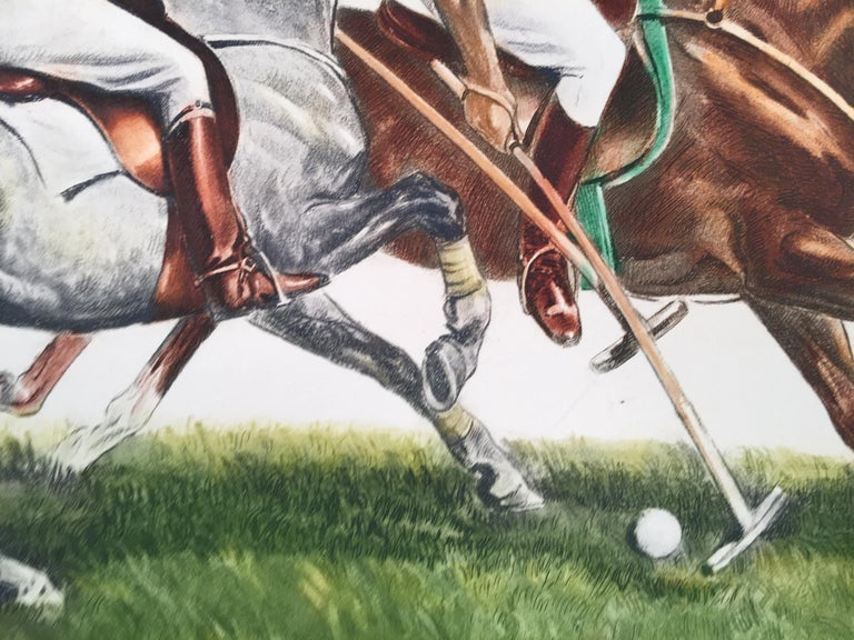 Polo Riders in Duel for the Ball - Print by Louis Claude