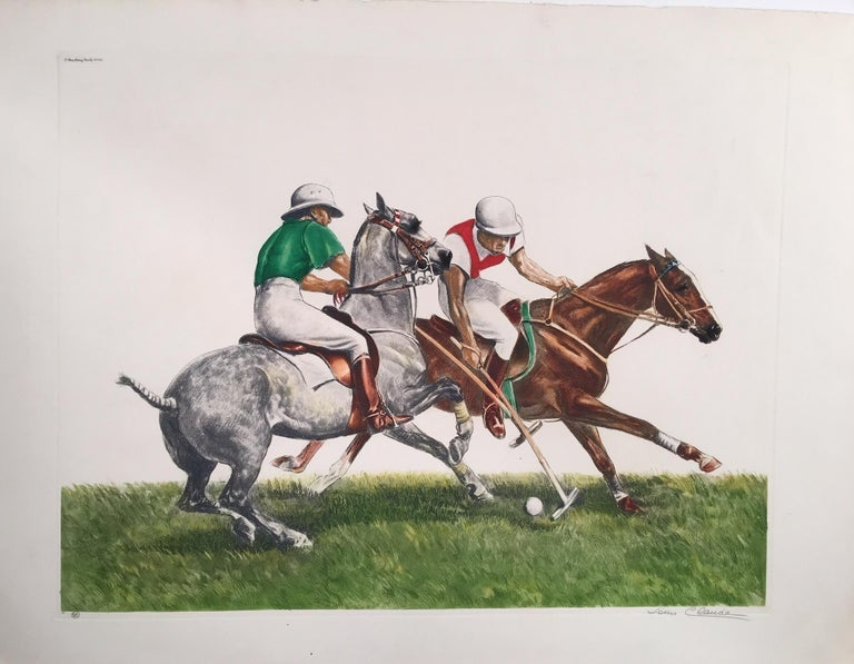 Louis Claude Animal Print - Polo Riders in Duel for the Ball