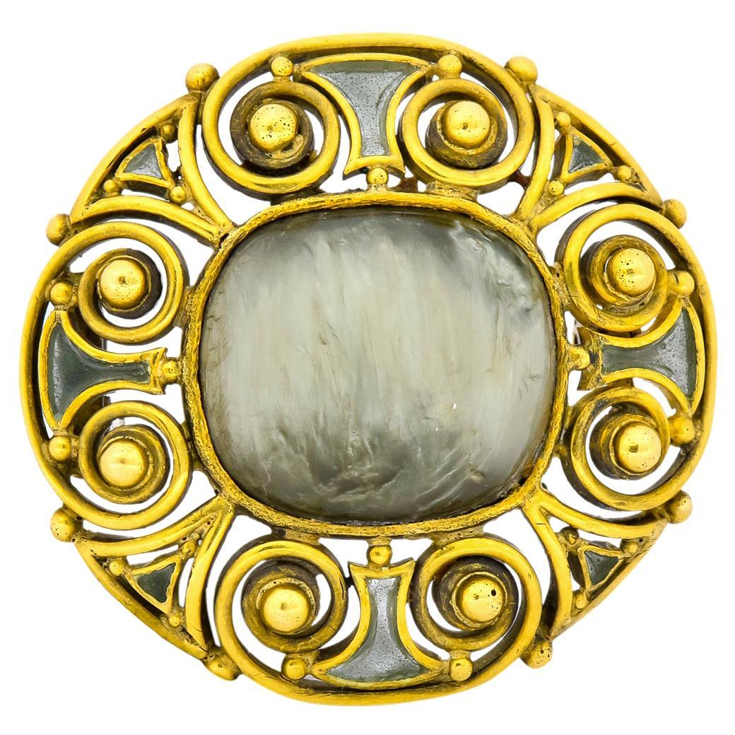 Louis Comfort Tiffany Arts & Crafts Plique-A-Jour Enamel 18 Karat Gold Brooch