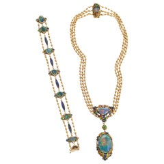 Louis Comfort Tiffany Black Opal and Enamel Necklace and Bracelet Set
